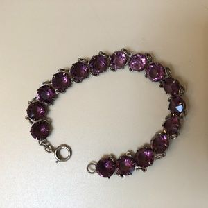 Jewelry - Vintage Glass Amethyst Rhinestone Link Bracelet